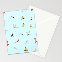 Yoga poses pattern Stationery Cards