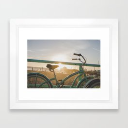Bike & Beach in Sunny Manhattan Beach, California Framed Art Print