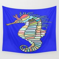 metallic Wall Tapestries featuring Metallic Seahorse by J&C Creations