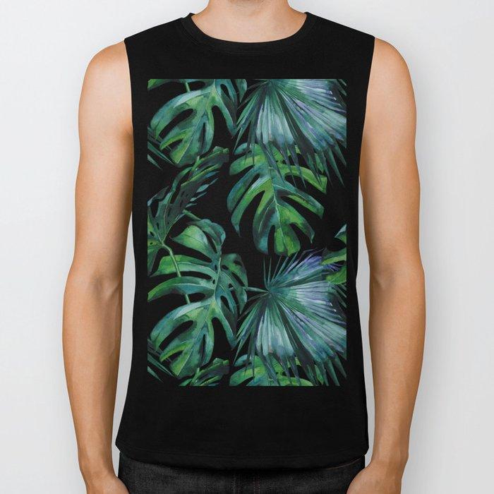 Tropical Palm Leaves Classic Biker Tank