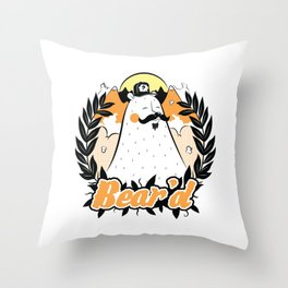Bear'd - Orange Throw Pillow