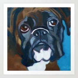 Boxer Lil E Dog Portrait Art Print