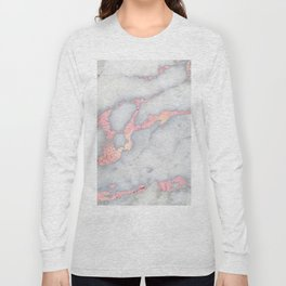 Rosegold Pink on Gray Marble Metallic Foil Style Long Sleeve T-shirt