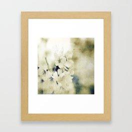 Yellow Green Vintage Cherry Flowers Framed Art Print