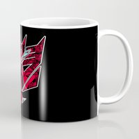 transformers Mugs featuring Transformers Air Guitar'n Con by Laserbot