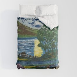 Planting the Spring Crops Lakeside under the yellow May Moon landscape painting by Nikolai Astrup Comforters