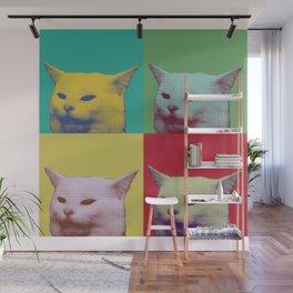 Pop art yelling cat meme Wall Mural