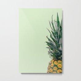 Pineapple in Light Green Metal Print