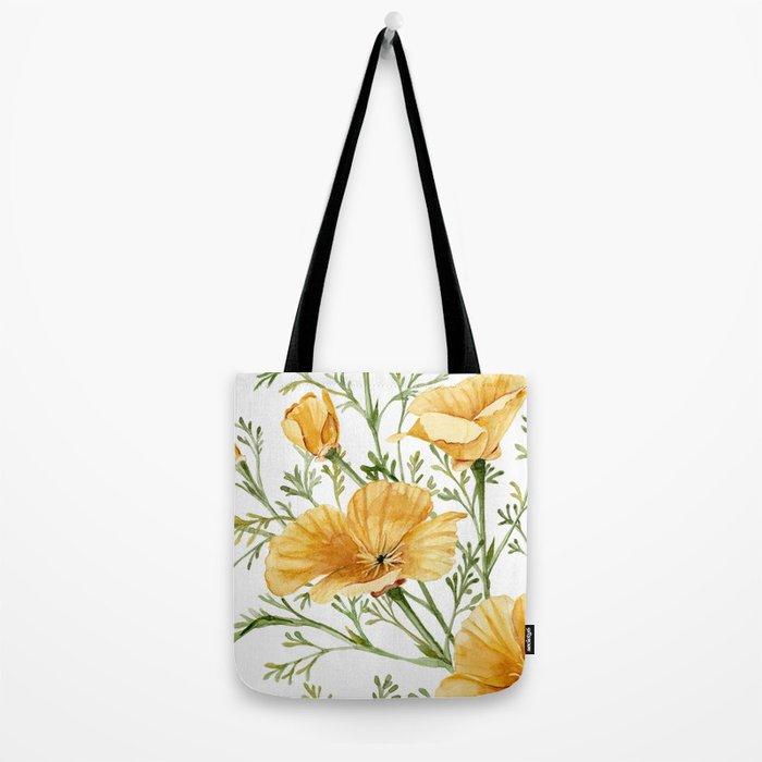California Poppies - Watercolor Painting Tote Bag