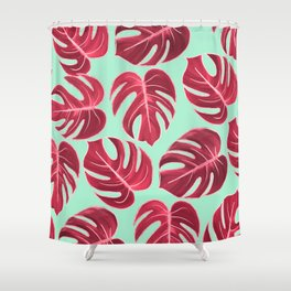 Modern Mint Blue Fuchsia Pink Faux Rose Gold Monster Leaves Shower Curtain