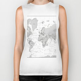 World Map [Black and White] Biker Tank