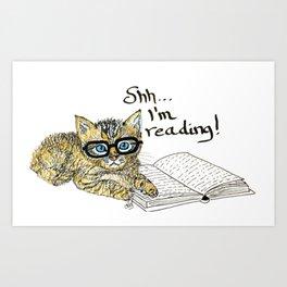 Kitten reading...shh Art Print