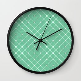 Geometrical abstract modern white green pattern Wall Clock