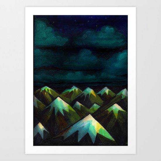 Night Mountains.  Art Print