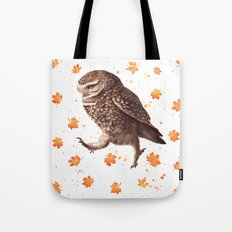 Autumn owl with leaves Tote Bag