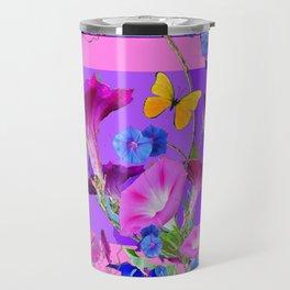 BUTTERFLIES & PURPLE-BLUE MORNING GLORY VINES  PINK VINETTE Travel Mug