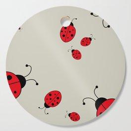 Ladybugs-Beige+Red Cutting Board