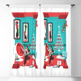 Martinis an Mistletoe Mid Century Modern art by Art of Scooter Blackout Curtain
