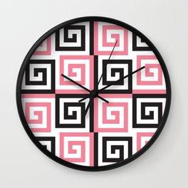 Geometric Pattern #124 (pink Greek spiral) Wall Clock