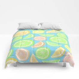 Mixed Citrus - blue Comforters
