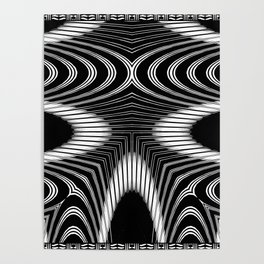 Geometric Black and White Skeleton African-Inspired Pattern Poster