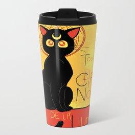 Chat Noir de la Lune Metal Travel Mug