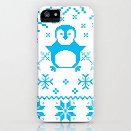 Cute Blue Scandinavian Penguin Holiday Design iPhone Case