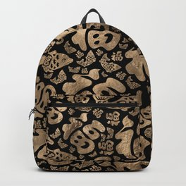 Chinese Lucky Symbols and Koi Fish - Black and Gold Backpack