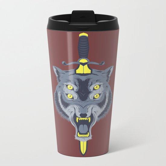 Wolf Head Metal Travel Mug