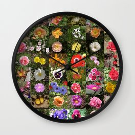 Flowers Montage Wall Clock