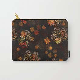 Orange & brown floral pattern Carry-All Pouch