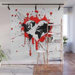 World Love RED 3D Wall Mural