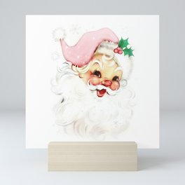 pink retro vintage santa Mini Art Print