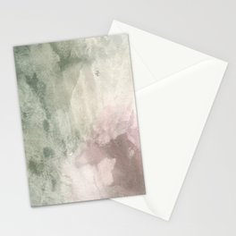 Abstract blush pink green white watercolor brushstrokes Stationery Cards