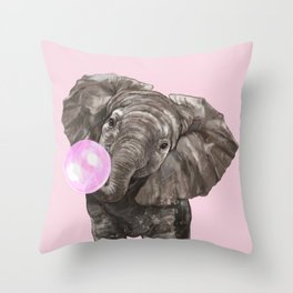 Baby Elephant Blowing Bubble Gum Throw Pillow