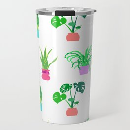 Simple Potted Plants in White Travel Mug