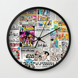 Newspapers and comics (collage) Wall Clock