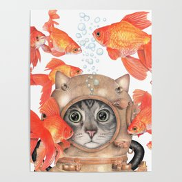 Scuba Cat Among the Fishes Poster