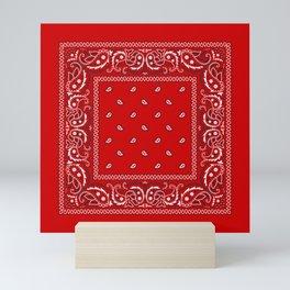 Paisley - Bandana - Red - Southwestern - Boho Mini Art Print