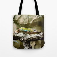 lizard Tote Bags featuring Lizard by WonderfulDreamPicture
