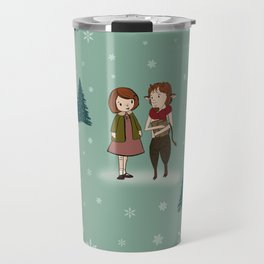 Lucy and Tumnus The Faun Winter Wonderland British Fairytale Childrens Book Illustration Book Lovers Travel Mug
