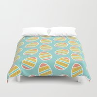 easter Duvet Covers featuring Easter Eggs by Allyson Johnson
