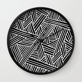Abstract black & white Lines and Triangles Pattern-Mix and Match with Simplicity of Life Wall Clock
