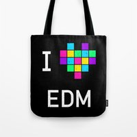 edm Tote Bags featuring I heart EDM by ihearteverything