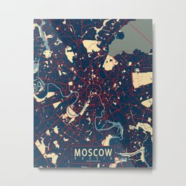 Moscow City Map of Russia - Hope Metal Print
