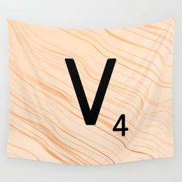 Scrabble Letter V - Large Scrabble Tiles Wall Tapestry