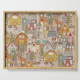 vintage gingerbread town Serving Tray