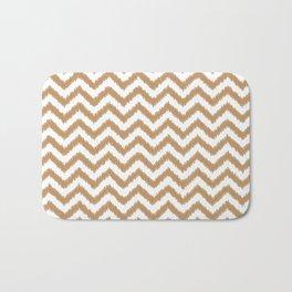 Gold Ikat Chevron Zigzag Pattern Bath Mat