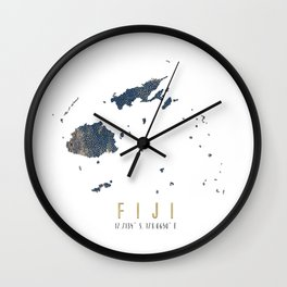 Blue and Gold Map of Fiji Wall Clock