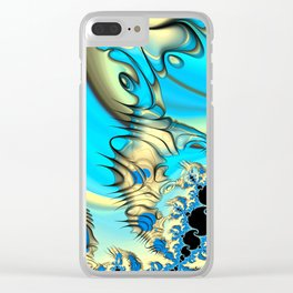 Wind Tunnels and Black Holes Fractal Blue and Yellow Clear iPhone Case